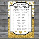 Gold glitter heart this or that birthday game,Adult Birthday Game,INSTANT DOWNLOAD--26