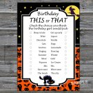 Halloween this or that birthday game,Adult Birthday Game,INSTANT DOWNLOAD--27