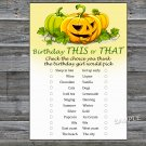 Halloween this or that birthday game,Adult Birthday Game,INSTANT DOWNLOAD--28