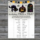 Halloween this or that birthday game,Adult Birthday Game,INSTANT DOWNLOAD--29