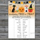 Halloween this or that birthday game,Adult Birthday Game,INSTANT DOWNLOAD--30