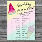 Watermelon this or that birthday game,Adult Birthday Game,INSTANT DOWNLOAD--31