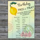 Lemon this or that birthday game,Adult Birthday Game,INSTANT DOWNLOAD--32