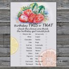 Strawberry this or that birthday game,Adult Birthday Game,INSTANT DOWNLOAD--33