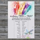 Tribal Feather this or that birthday game,Adult Birthday Game,INSTANT DOWNLOAD--34