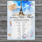 Paris Eiffel Tower this or that birthday game,Adult Birthday Game,INSTANT DOWNLOAD--35