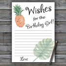 Pineapple Wishes for the birthday girl,Wishes Party Game,Adult Birthday Game,INSTANT DOWNLOAD--1