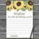 Sunflower Wishes for the birthday girl,Wishes Party Game,Adult Birthday Game,INSTANT DOWNLOAD--2