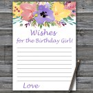 Watercolor flower Wishes for the birthday girl,Wishes Party Game,Adult Birthday GameINSTANT DOWNLOAD