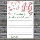 16th Birthday Wishes for the birthday girl,Wishes Party Game,Adult Birthday Game,INSTANT DOWNLOAD--6