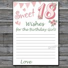 18th Birthday Wishes for the birthday girl,Wishes Party Game,Adult Birthday Game,INSTANT DOWNLOAD--7