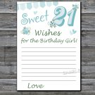 21st Birthday Wishes for the birthday girl,Wishes Party Game,Adult Birthday Game,INSTANT DOWNLOAD--8