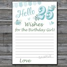25th Birthday Wishes for the birthday girl,Wishes Party Game,Adult Birthday Game,INSTANT DOWNLOAD--9