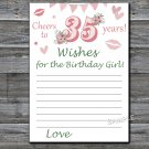 35th Birthday Wishes for the birthday girl,Wishes Party Game,Adult Birthday Game,INSTANT DOWNLOAD-10