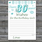30th Birthday Wishes for the birthday girl,Wishes Party Game,Adult Birthday Game,INSTANT DOWNLOAD-11