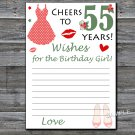 55th Birthday Wishes for the birthday girl,Wishes Party Game,Adult Birthday Game,INSTANT DOWNLOAD-13