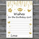 Gold glitter Wishes for the birthday girl,Wishes Party Game,Adult Birthday Game,INSTANT DOWNLOAD-15