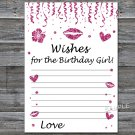 Pink glitter Wishes for the birthday girl,Wishes Party Game,Adult Birthday Game,INSTANT DOWNLOAD-16