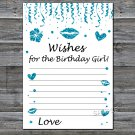 Blue glitter Wishes for the birthday girl,Wishes Party Game,Adult Birthday Game,INSTANT DOWNLOAD-17