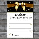 Golden bow Wishes for the birthday girl,Wishes Party Game,Adult Birthday Game,INSTANT DOWNLOAD-19