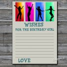 Dance party Wishes for the birthday girl,Wishes Party Game,Adult Birthday Game,INSTANT DOWNLOAD-20
