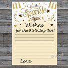 Gold glitter Wishes for the birthday girl,Wishes Party Game,Adult Birthday Game,INSTANT DOWNLOAD-21