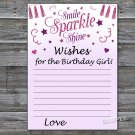 Pink glitter Wishes for the birthday girl,Wishes Party Game,Adult Birthday Game,INSTANT DOWNLOAD-22