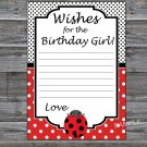 Ladybug Wishes for the birthday girl,Wishes Party Game,Adult Birthday Game,INSTANT DOWNLOAD-23