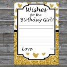 Gold glitter heart Wishes for the birthday girl,Adult Birthday Game,INSTANT DOWNLOAD-26