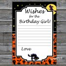 Halloween Wishes for the birthday girl,Wishes Party Game,Adult Birthday Game,INSTANT DOWNLOAD-27