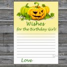 Halloween Wishes for the birthday girl,Wishes Party Game,Adult Birthday Game,INSTANT DOWNLOAD-28