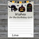 Halloween Wishes for the birthday girl,Wishes Party Game,Adult Birthday Game,INSTANT DOWNLOAD-29