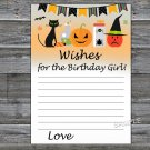 Halloween Wishes for the birthday girl,Wishes Party Game,Adult Birthday Game,INSTANT DOWNLOAD-30