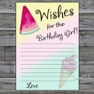 Watermelon Wishes for the birthday girl,Wishes Party Game,Adult Birthday Game,INSTANT DOWNLOAD-31