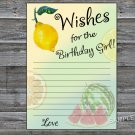 Lemon Wishes for the birthday girl,Wishes Party Game,Adult Birthday Game,INSTANT DOWNLOAD-32