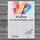Tribal Feather Wishes for the birthday girl,Wishes Party Game,Adult Birthday Game,INSTANT DOWNLOAD34