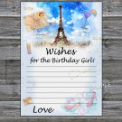 Paris Eiffel Tower Wishes for the birthday girl,Wishes Party,Adult Birthday Game,INSTANT DOWNLOAD35