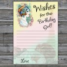 Vintage girl Wishes for the birthday girl,Wishes Party Game,Adult Birthday Game,INSTANT DOWNLOAD-36