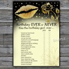 Gold lips Birthday ever or never game,Adult Birthday Game,INSTANT DOWNLOAD--37