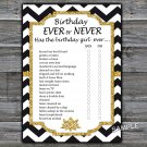 Black White Chevron Birthday ever or never game,Adult Birthday Game,INSTANT DOWNLOAD--38