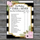 Black White Striped Birthday ever or never game,Adult Birthday Game,INSTANT DOWNLOAD--39