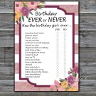 Rose Striped Birthday ever or never game,Adult Birthday Game,INSTANT DOWNLOAD--40