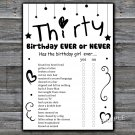 Thirty Birthday ever or never game,Adult Birthday Game,INSTANT DOWNLOAD--41