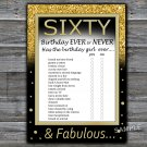 Sixty Birthday ever or never game,Adult Birthday Game,INSTANT DOWNLOAD--42