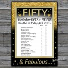 Fifty Birthday ever or never game,Adult Birthday Game,INSTANT DOWNLOAD--43