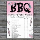 BBQ Birthday ever or never game,Adult Birthday Game,INSTANT DOWNLOAD--44