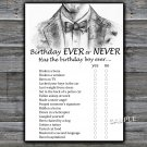 Bow Tie Birthday ever or never game,Adult Birthday Game,Man Birthday games,INSTANT DOWNLOAD--46
