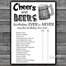Cheers and Beers Birthday ever or never game,Adult Birthday Game,Man Birthday,INSTANT DOWNLOAD--47