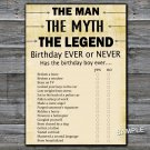 The man The myth The legend Birthday ever or never game,Adult Birthday Game,INSTANT DOWNLOAD--48