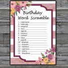 Rose Striped BIRTHDAY WORD SCRAMBLE Game,Adult Birthday Game,INSTANT DOWNLOAD--40